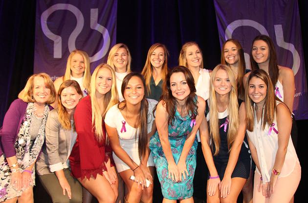 Kimberley William-Paisley, Northwestern University Alpha Phi member, center, shares the spotlight with her sorority sisters from UC Santa Barbara.