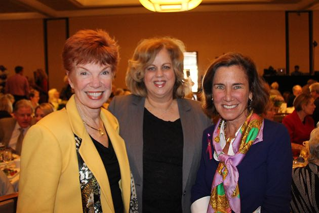 From left, Cynder Sinclair of Nonprofit Kinect and a Noozhawk columnist, Kathy Kerstiens and table sponsor Alixe Mattingly.