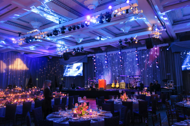 "The Bacara Ballroom in amethyst hues ready for the ""Rock the Bacara"" event featuring the Alan Parsons Live Project."