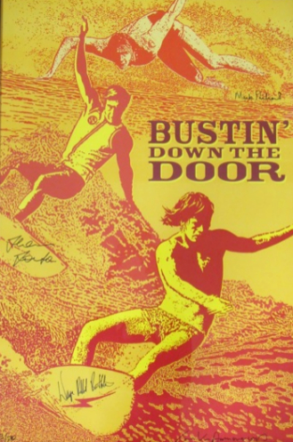 A limited edition, framed poster signed by renowned artist John Van Hamersveld of Shaun Tomson's best-selling documentary, 'Bustin' Down the Door,' is available for bidding.