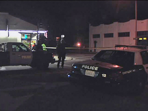 The intersection of Santa Barbara and Victoria streets was shut down Sunday night after a bicyclist was critically injured in a collision with a vehicle. (KEYT News photo)
