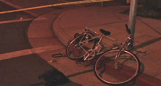 <p>A damaged bicycle lies at the corner of Santa Barbara and Victoria streets in Santa Barbara Sunday night after a female cyclist was critically injured in a collision with a vehicle.</p>