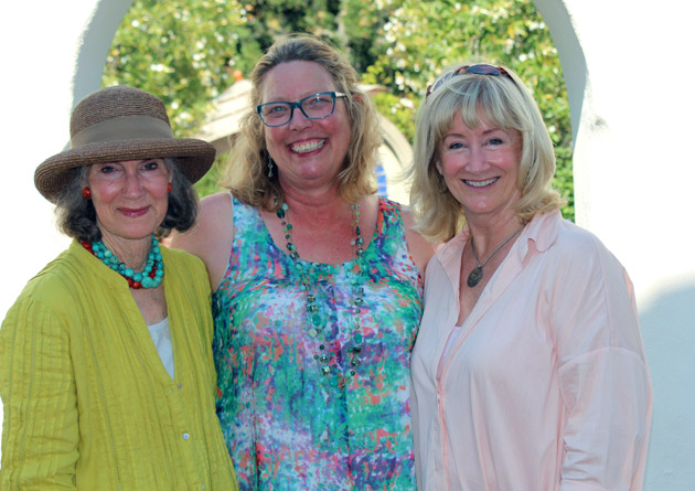 Casa del Herrero Executive Director Molly Barker, center, with Just Plein Air event sponsors, left, Carolyn Williams and Jane Dailey.