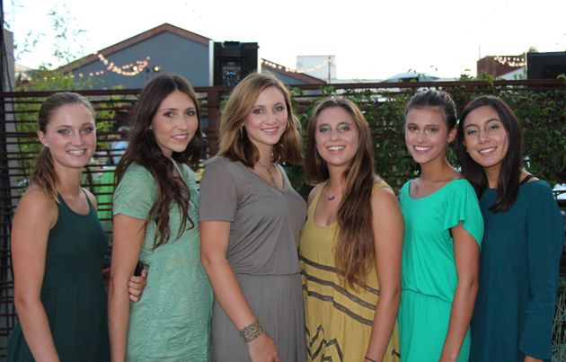 From left, Claire Casey, Jessie Moore, Zoe Brock, Hannah Ross, Kyla Zavala and Ruby Sapia greeted guests at the Green Gala held at The Lark in Santa Barbara's Funk Zone.