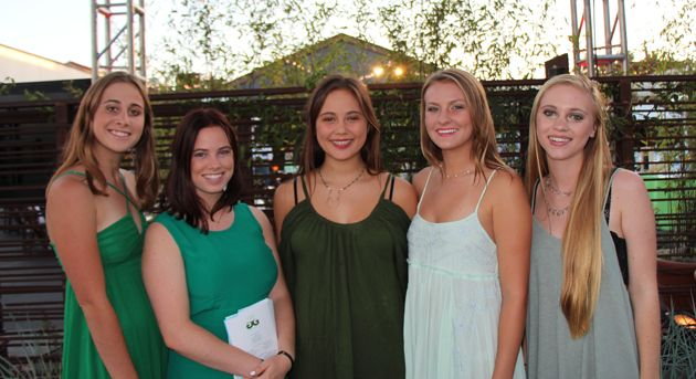 From left, Julia Ganet, Maisie Zimmerman, Hana Antrim, Emily Lockell and Emma Cisek welcomed guests to The Lark.