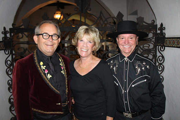 Courthouse Legacy Foundation founding trustee Robert Ooley, left, with trustees Carol Fell and Rodney Baker at CLF's Fiesta party at the courthouse.