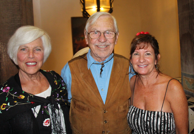 Sue Adams, left, trustee vice president, with Bill Mahan, AIA, trustee president, and Jan Ferrell, committee member.