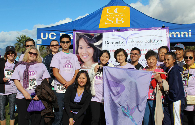 Members of the Tang family gather to raise awareness at the 5K Run/Walk for Love in memory of the late Alexandra Tang, a victim of domestic violence.