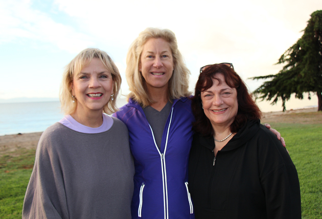 Marsha Marcoe, left, associate executive director of Domestic Violence Solutions, with event co-chairs Julie Capritto and Sofie Langhorne at the inaugural 5K Run/Walk for Love held at Goleta Beach.