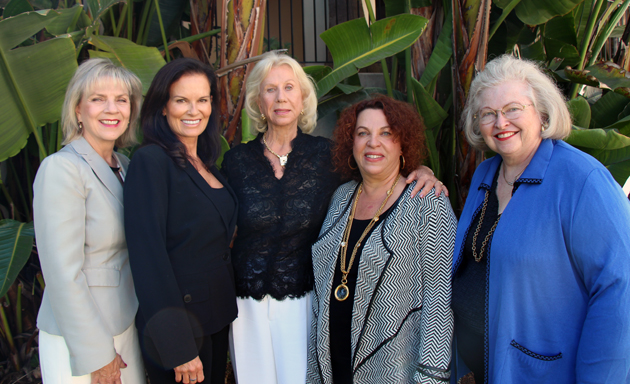 From left, Domestic Violence Solutions for Santa Barbara County associate executive director Marsha Marcoe, guest speaker Denise Brown, honoree Betty J. Stephens, DVS president Claudette Roehrig and Pathways to Hope award presenter Sarah Weddington at the High Esteem Tea fundraiser at Bacara Resort and Spa.