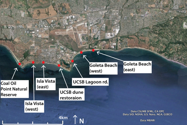 Study area and locations for seven of the nine proposed sites along the Santa Barbara coast for terrestrial LiDAR scans. Approximately 90 percent of the coastline from Santa Barbara harbor to Coal oil point is comprised of sea cliffs.