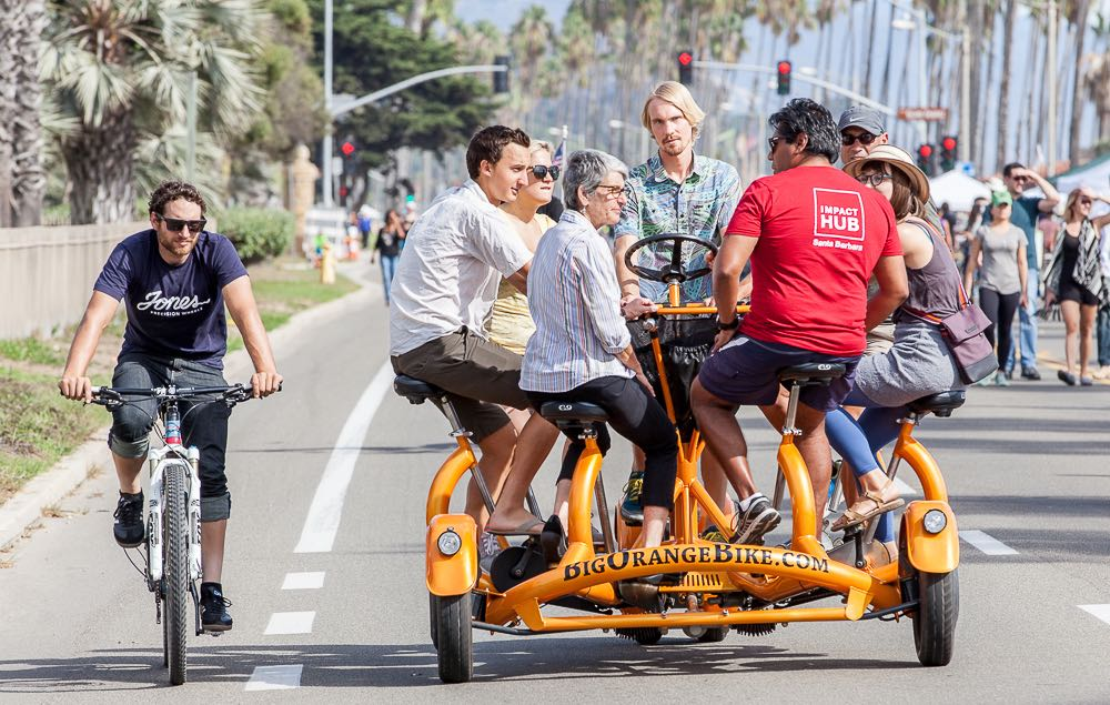 State Sen. Hannah-Beth Jackson, D-Santa Barbara, was among the thousands of people going for a spin Saturday on a car-free East Cabrillo Boulevard as part of the third annual Santa Barbara Open Streets festival.