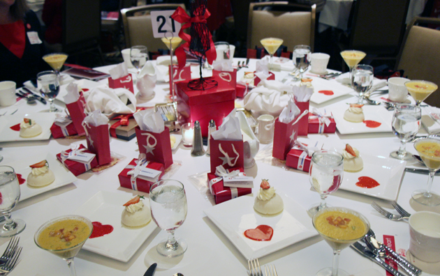 Red-inspired table setting includes heart healthy soup, dessert and take-home gifts from sponsors Macy's and Union Bank.
