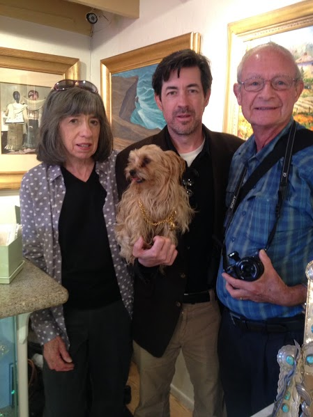 Betty, Jerry, Jerome Compton and Marlin the pup wearing his own Chanel.