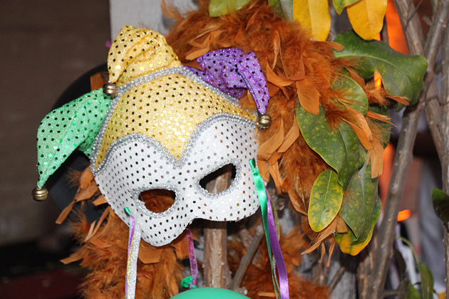 Colorful masks filled the courtyard and set the party scene.