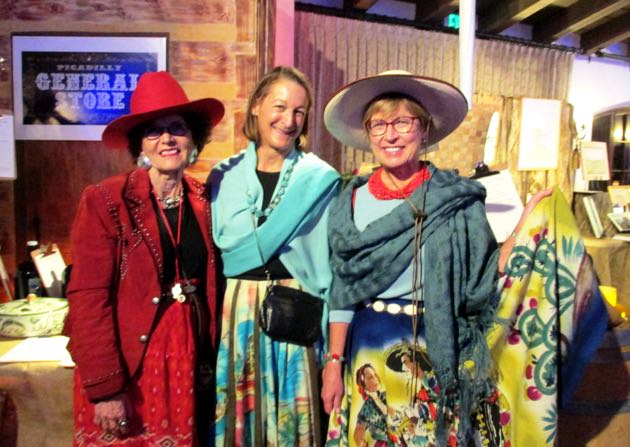 From left, Holly Joseph, Marion Schoneberger and the Rev. Anne Howard were all dressed up for the Western-themed affair.