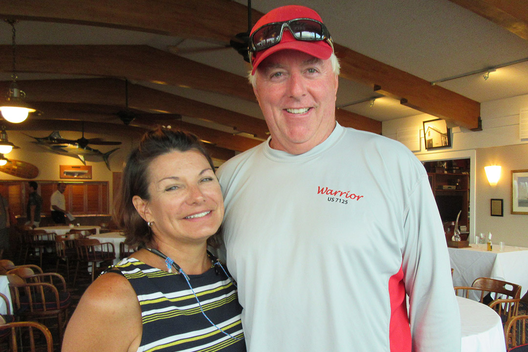 Becky Harteck with husband Larry, who helped on the winning Warrior crew.