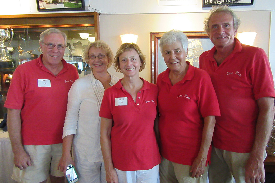 Proud crew of Sea Note, Craig Schmidt, Elezabeth Barton, owner Judith Mueller and Alice and Bruce Williams.