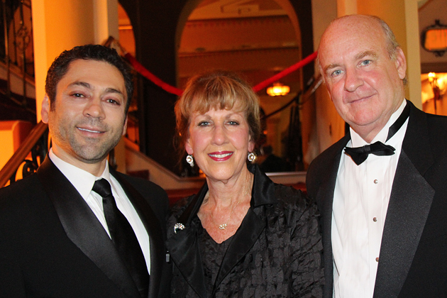 Opera Santa Barbara artistic director and 'Tosca' stage director Jose Maria Condemi, left, with board chairwoman Joan Rutkowski, and conductor Chrisotpher Larkin.