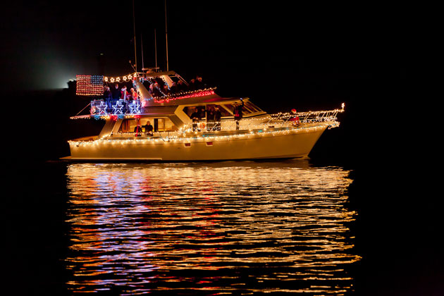 <p>Stars, stripes and Santa adorned one yacht Sunday night at Santa Barbara&#8217;s 17th annual Parade of Lights.</p>