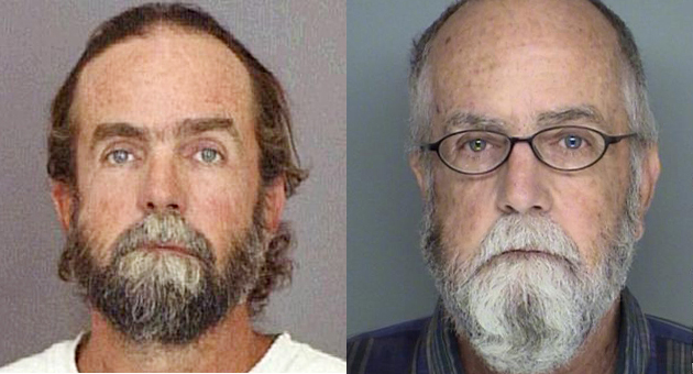 Jeffrey Reed Parish, 65, of Santa Barbara is accused of molesting a 4-year-old Carpinteria girl in 1994. He was arrested in Guatemala and extradited to Santa Barbara County to face charges. Photo at left was taken at booking in 1994; the other was taken after his recent arrest. (Sheriff's Department photos)