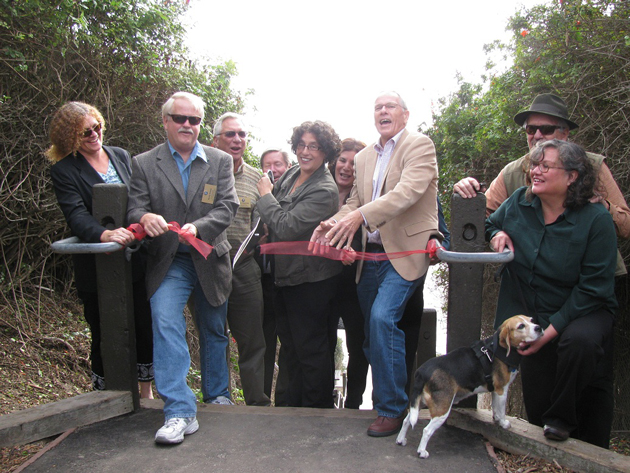 City and county officials gathered Monday to celebrate the opening of the refurbished Mesa Lane stairs in Santa Barbara. (Giana Magnoli / Noozhawk photo)