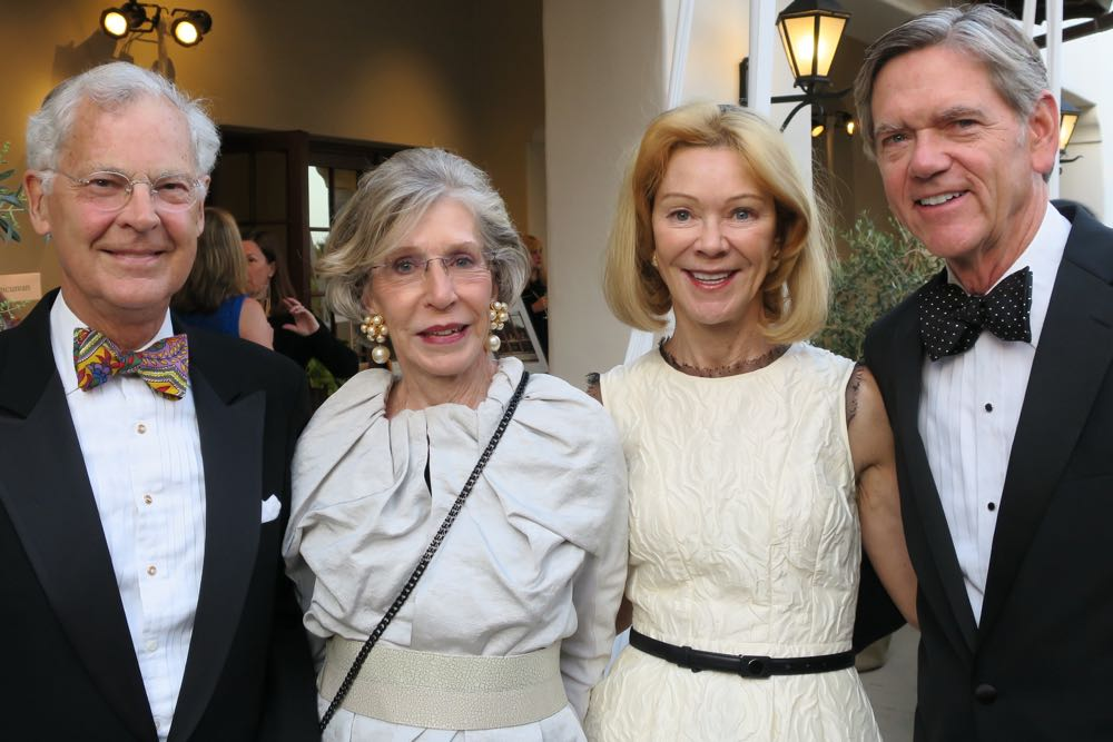 Direct Relief board members Dorothy Gardner, center left, and Siri Marshall and their husbands, John Gardner, left, and Bob Marshall at the 2016 Santa Barbara Wine Auction at Bacara Resort & Spa.