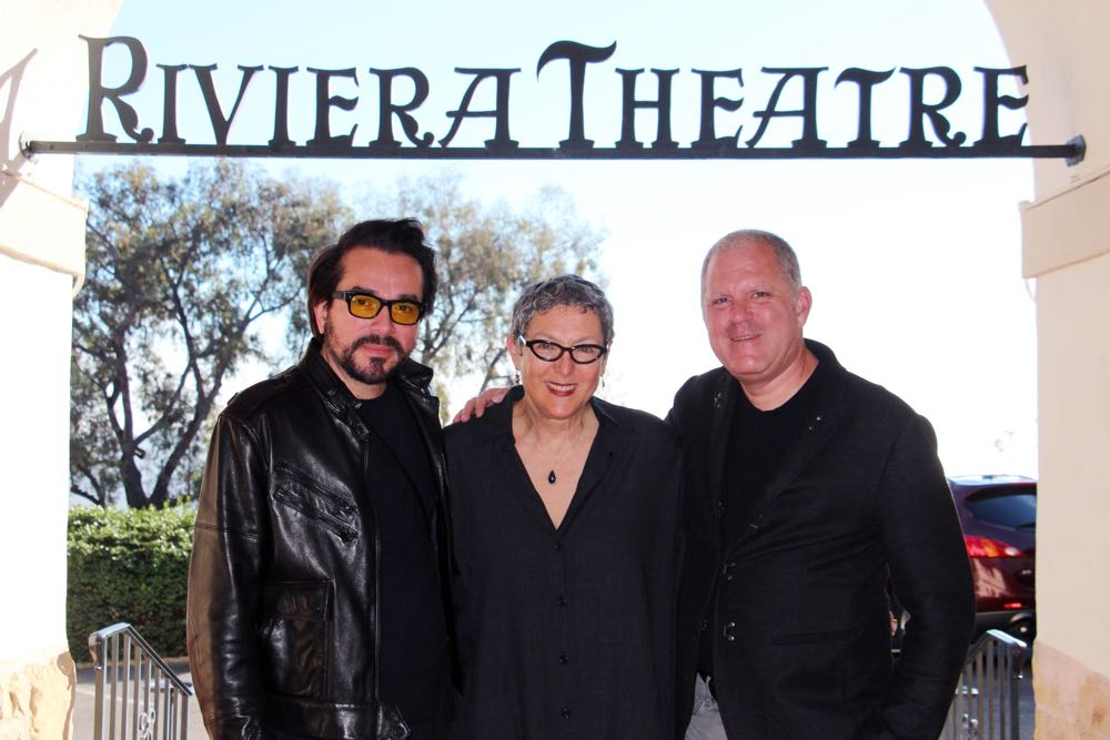 "Lynda Weinman, founder of Lynda.com and board president of the Santa Barbara International Film Festival, is flanked by her husband, Bruce Heavin, right, and SBIFF executive director Roger Durling. Weinman and Heavin are excited about the impending renovations at the Riviera Theatre. ""Santa Barbara deserves a full-time art house theater, and we are going to provide it!"" she says."