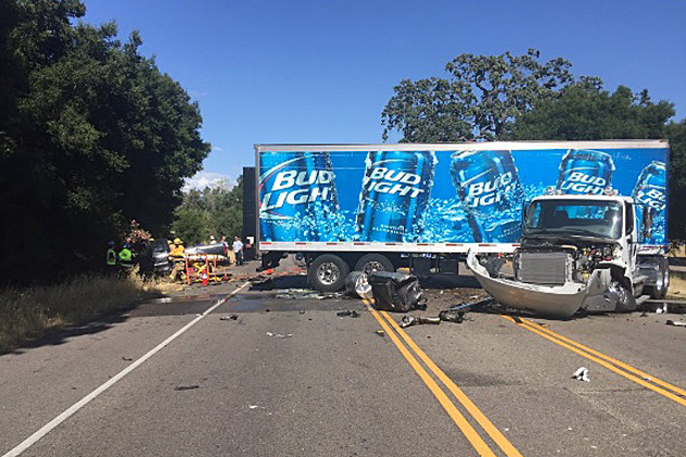 The driver of a pickup truck was transported to the hospital with major injuries Wednesday after a head-on collision with a Budweiser semi truck on Highway 154 in Los Olivos.