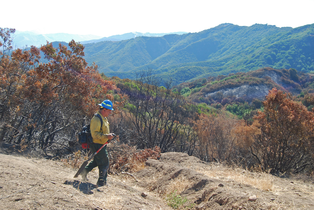 U.S. Forest Service soil scientist Eric Nicita and other Burned Area Emergency Response team members are evaluating the environmental impact of the Whittier Fire.