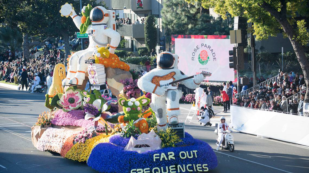 A colorful float sponsored by UPS Store Inc., entitled