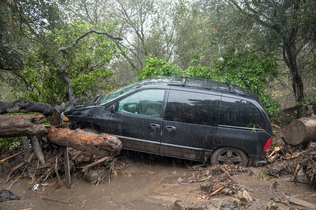 A van in Montecito damaged by Tuesday's flash flooding.