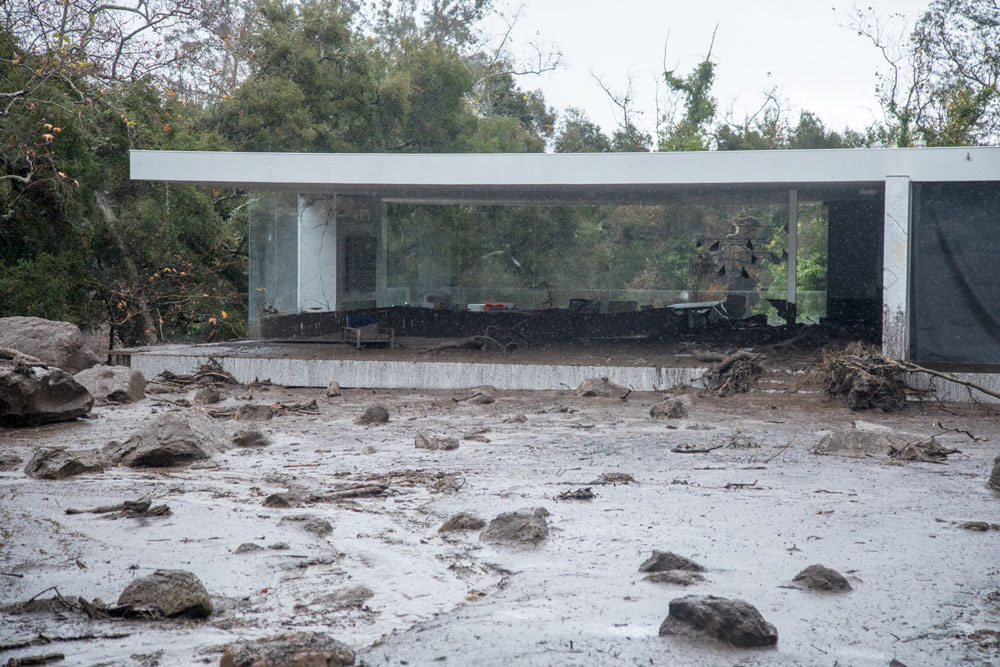 A home in Montecito damaged by Tuesday's flash flooding.