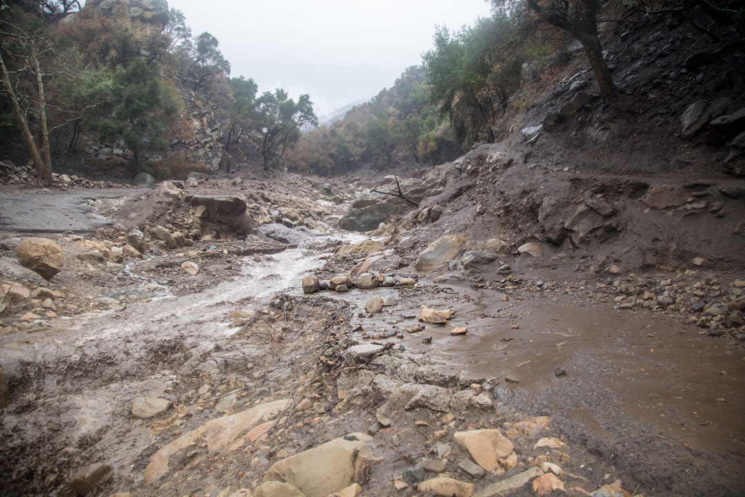 Many roadways in Montecito were severely damaged by Tuesday's flooding.