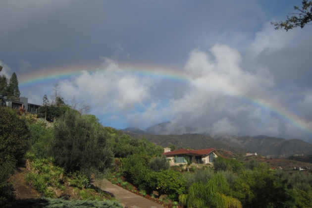 Hours after the Jan. 9 mudslides in Montecito, rainbows appeared. This photo was taken between rains, looking north from San Roque Canyon and across the area of the Jesusista Fire.