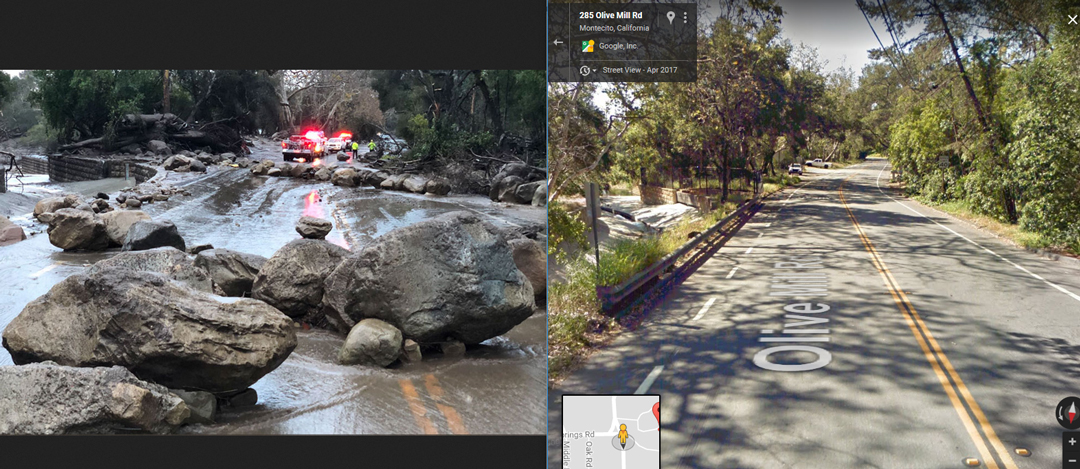 A before and after shot of Hot Springs Road, using Google Street View and a Santa Barbara County Fire Department photo.