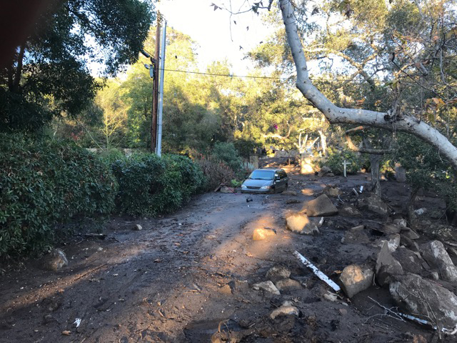 A vehicle stuck in the mud in Montecito.