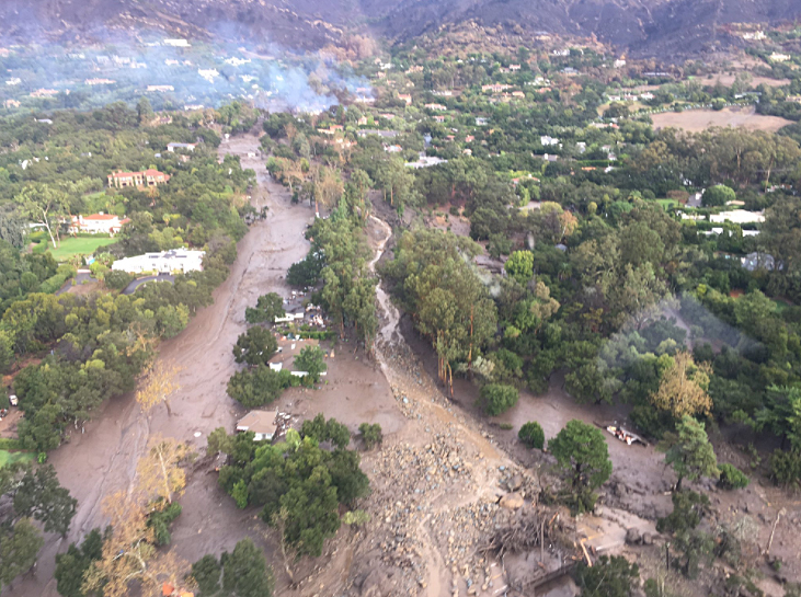A view of Montecito from the air Tuesday shows damage by the storm.