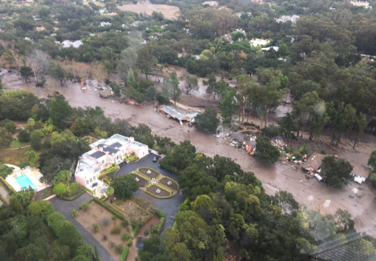 A view of Montecito from the air Tuesday shows homes swept away by mud and debris.