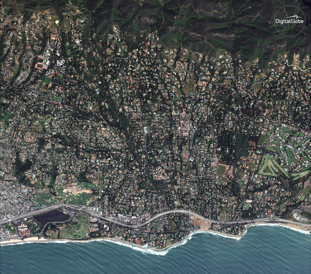 DigitalGlobe's WorldView-2 satellite shows an overview of Montecito in April 2017, before the Thomas Fire in December and muslides Jan. 9.
