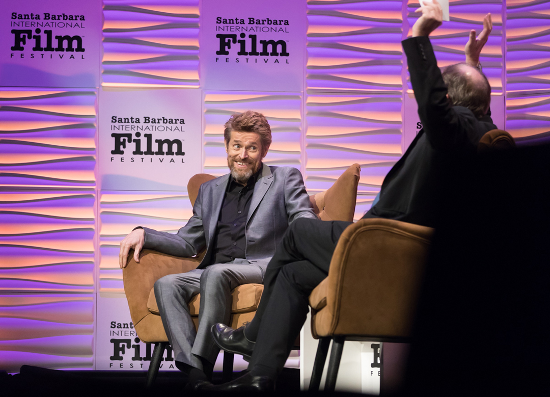 Willem Dafoe speaks at the Arlington Theatre in Santa Barbara Thursday night about his 39-year career in film.