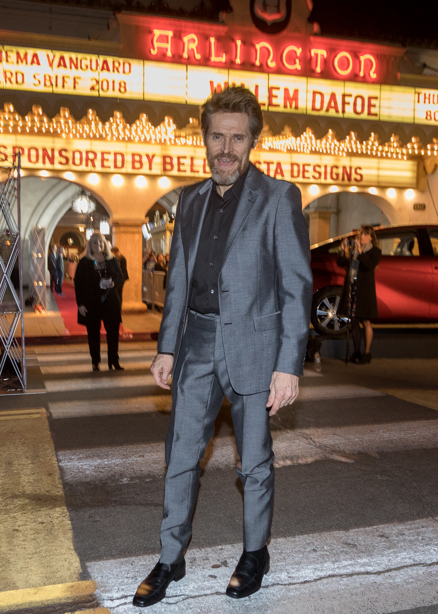Actor Willem Dafoe arrives at the Arlington Theatre Thursday night for the Santa Barbara International Film Festival.
