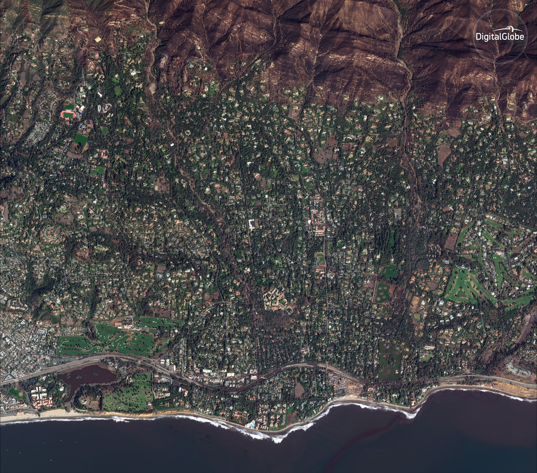 A WorldView-2 satellite image shows Montecito after the Jan. 9 mudslides.