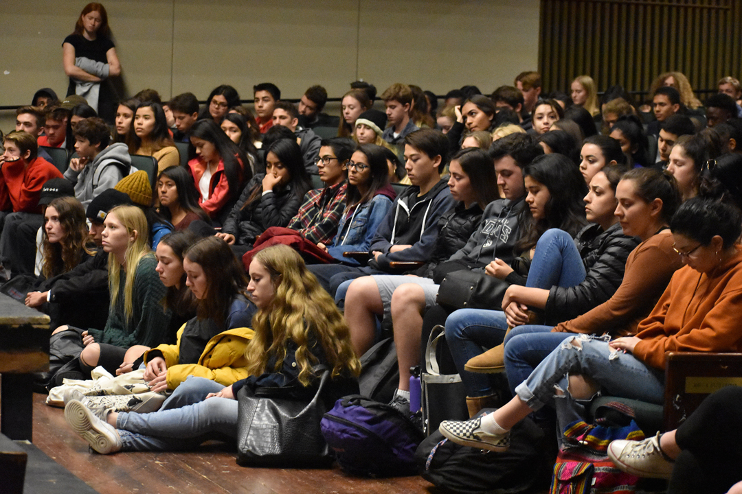 Santa Barbara High School students gather on campus for a moment of silence Wednesday morning.