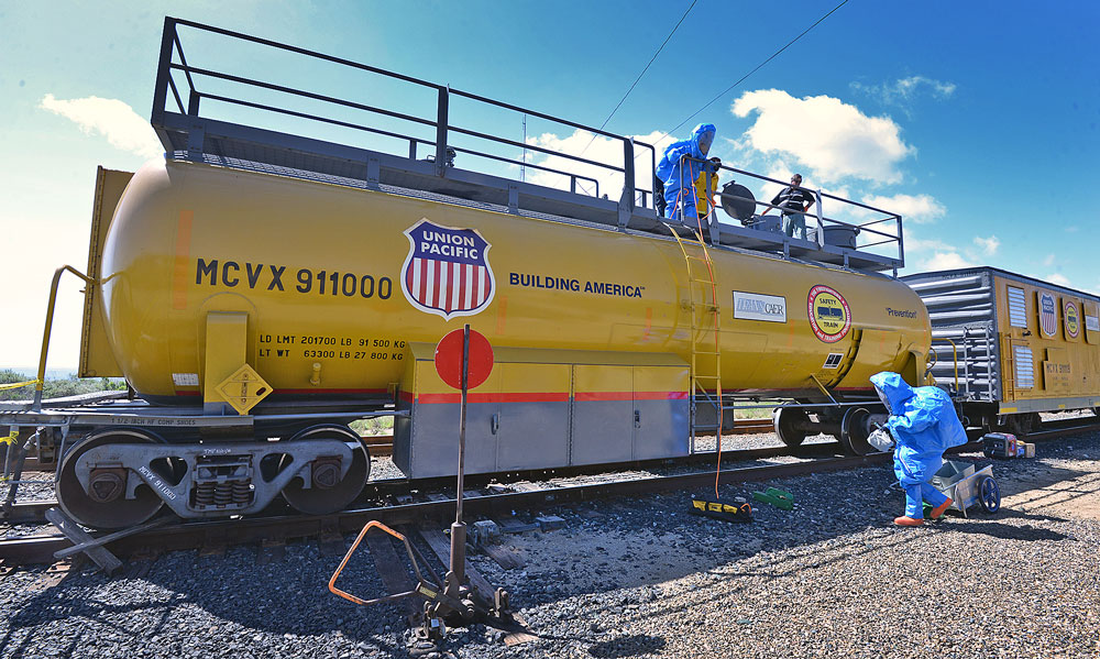Union Pacific Railroad provided a specialized train car for use in the drill.