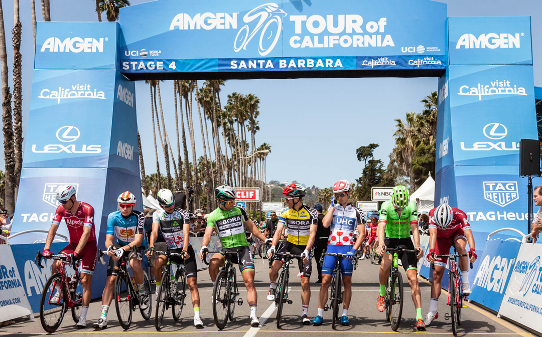 Amgen Tour of California cyclists start Stage 4 on Cabrillo Boulevard in Santa Barbara Wednesday morning