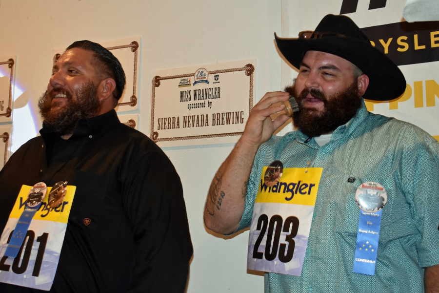 A Beard-A-Reno contestant does some last-minute grooming before the judging for the wildest beard category Saturday night at the Santa Maria Elks Lodge. It didn't help as Tommy Barrios, left, captured the belt buckle.