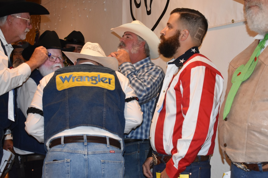 Santa Maria Elks Beard-A-Reno judges get personal—and physical—in judging whiskers on Saturday night.