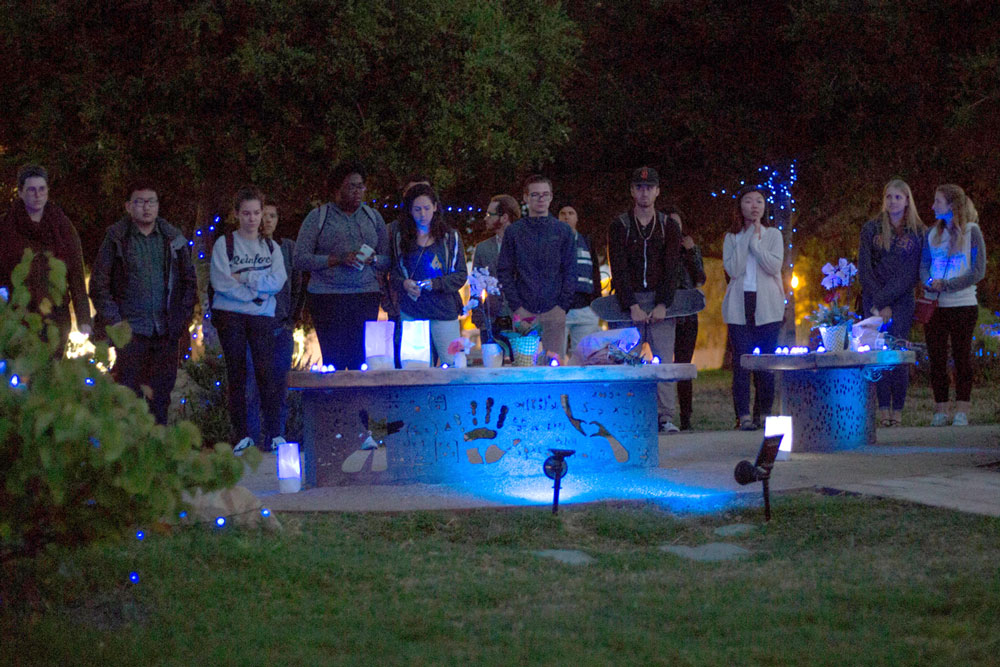 A crowd gatherered Tuesday night in Isla Vista's Anisq'Oyo Park to commemorate the victims killed in the Isla Vista massacre three years ago.