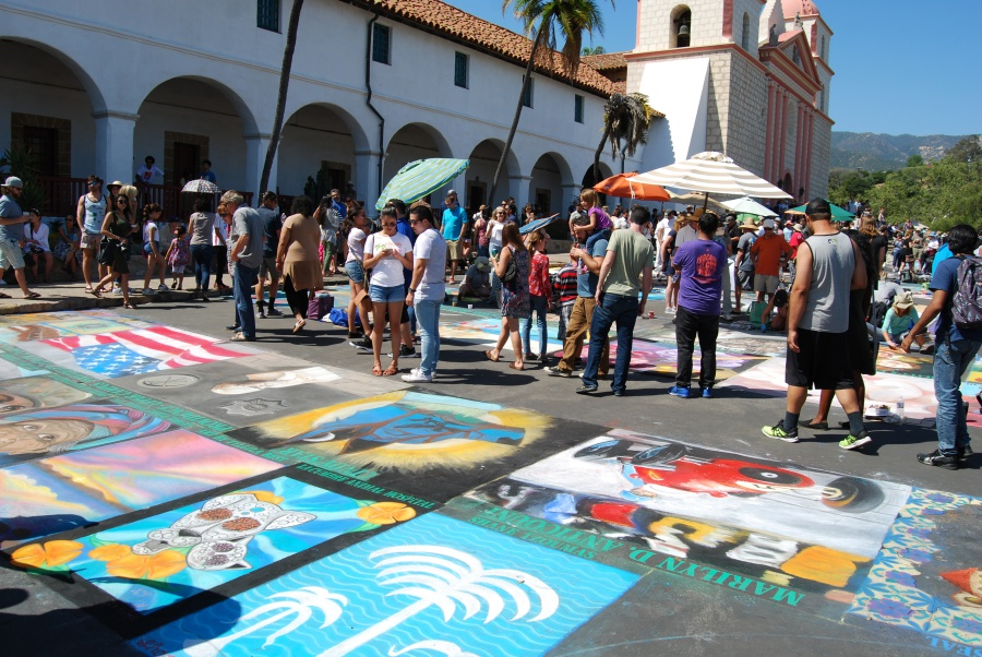 About 150 artists are decorating the Santa Barbara Mission's plaza this weekend at the 31st annual I Madonnari Italian street painting festival. The free festival continues from 10 a.m. to 6 p.m. Monday.